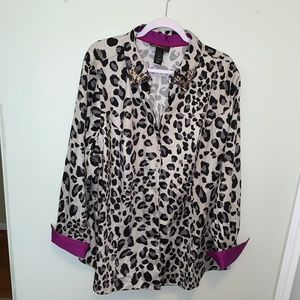 Lane Bryant Animal Print Beaded Collar sz 28